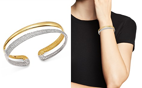 Roberto Coin 18K White & Yellow Gold Scalare Half Pavé Diamond Kick Cuff - Bloomingdale's_2